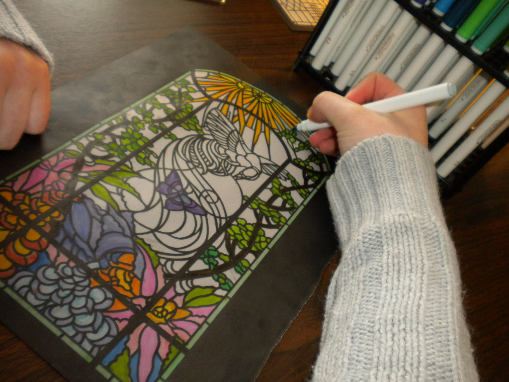 arte dibujos de flores y mariposas tipo vitral familia